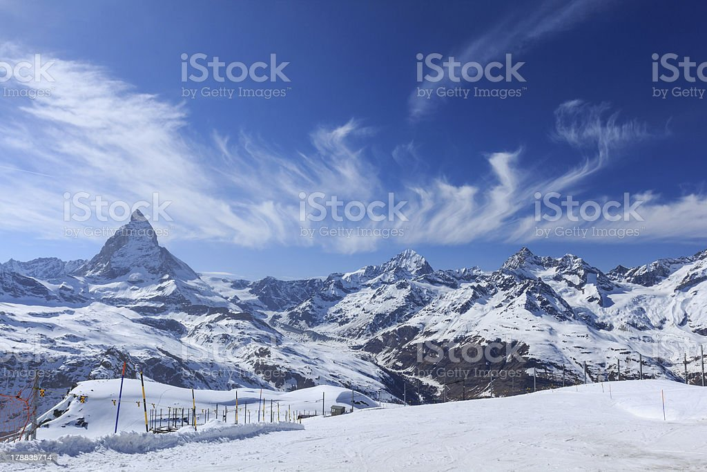The Matterhorn with beautiful cloud royalty-free stock photo