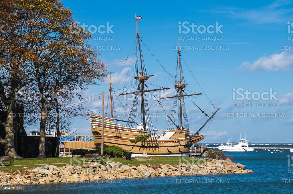 The Mayflower II in Plymouth Harbor stock photo