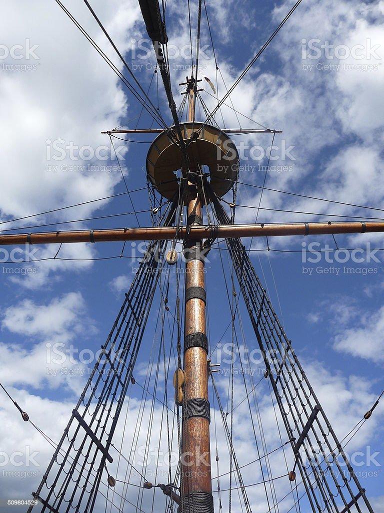 The Mayflower II Mast stock photo