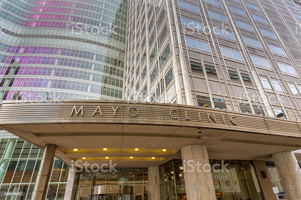 The Mayo Clinic Entrance and Sign stock photo
