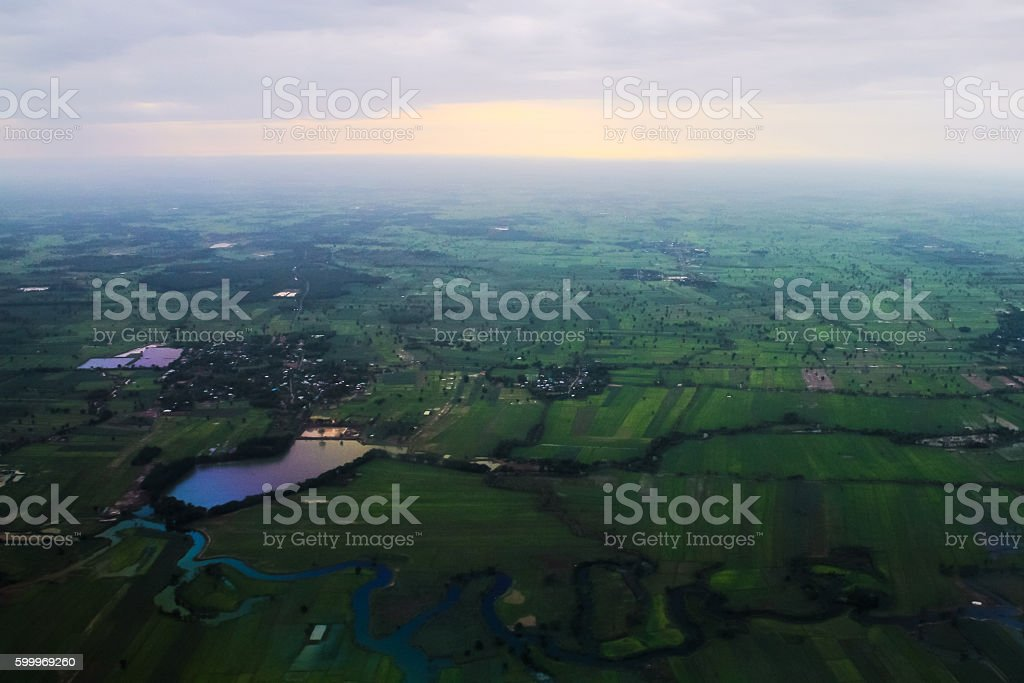 The meandering of the river basin information.THAILAND stock photo