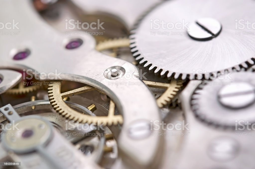 The mechanism of an old watch royalty-free stock photo