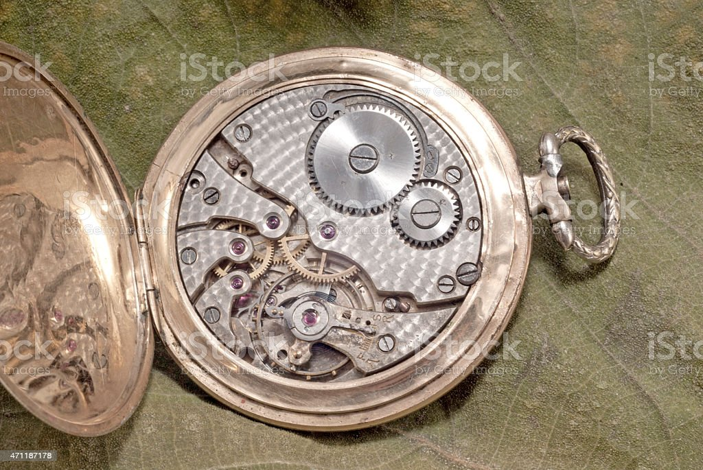 The mechanism of an old watch stock photo