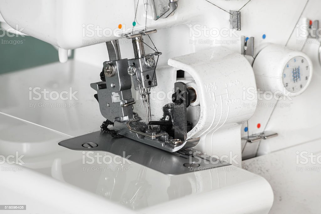 The mechanism of the needle of the sewing machine close-up. stock photo
