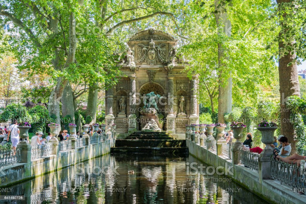 The Medici Fountain in the Luxembourg garden, Paris. stock photo