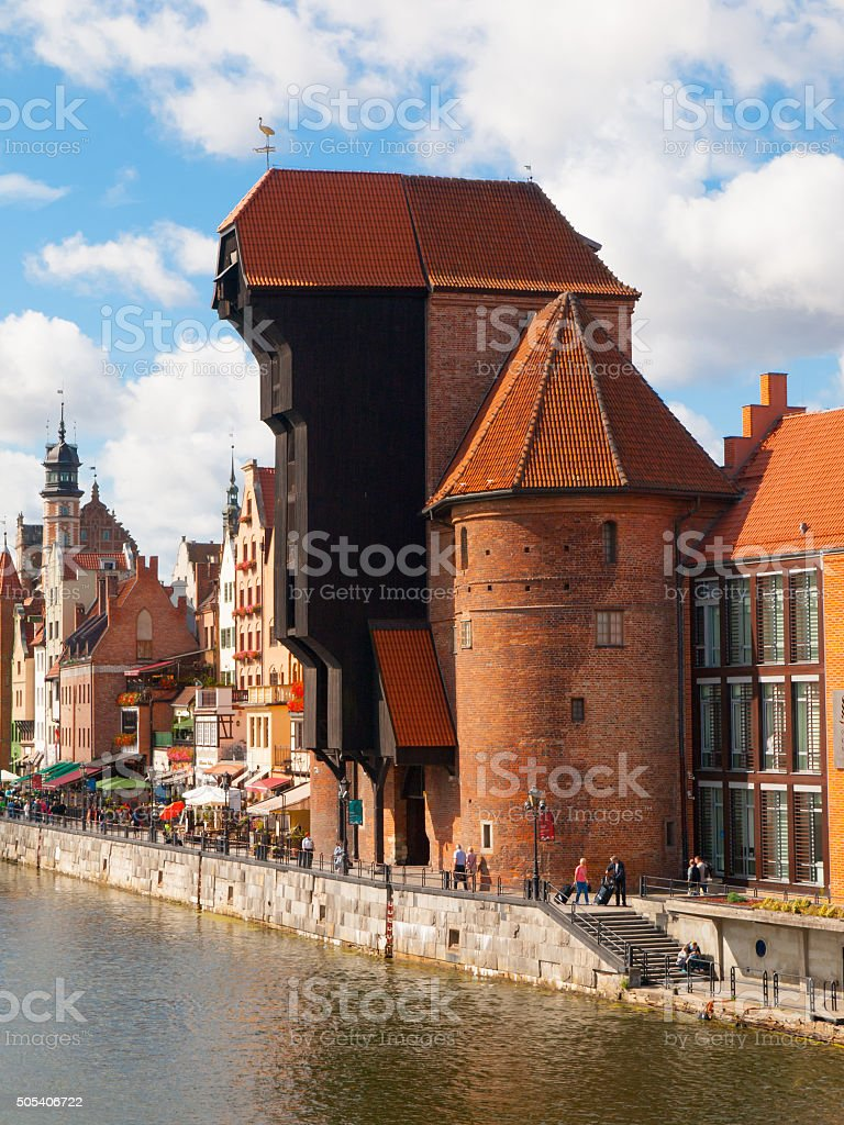 The medieval crane in Gdansk city centre stock photo