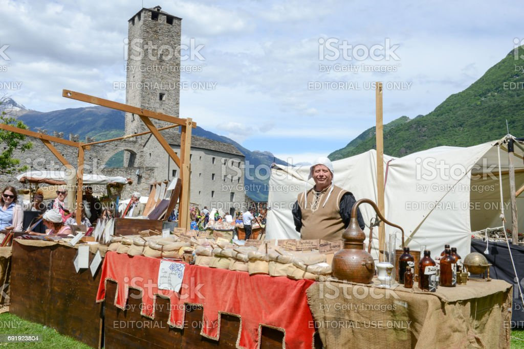 The medieval market on Castelgrande castle at Bellinzona stock photo
