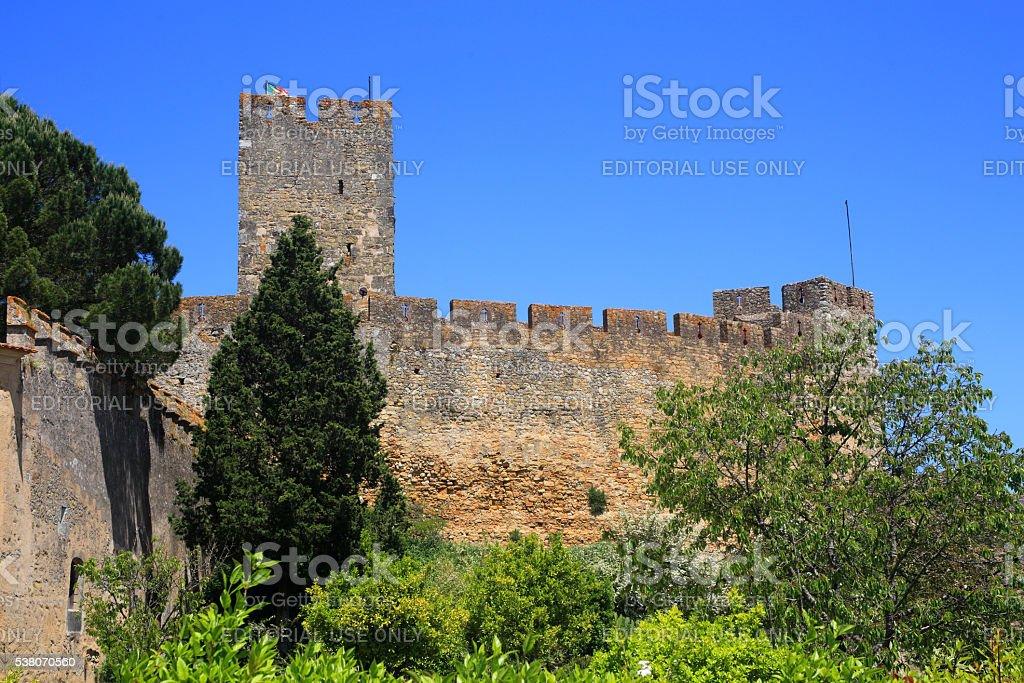 The medieval Tomar Castle. UNESCO World Heritage site. stock photo