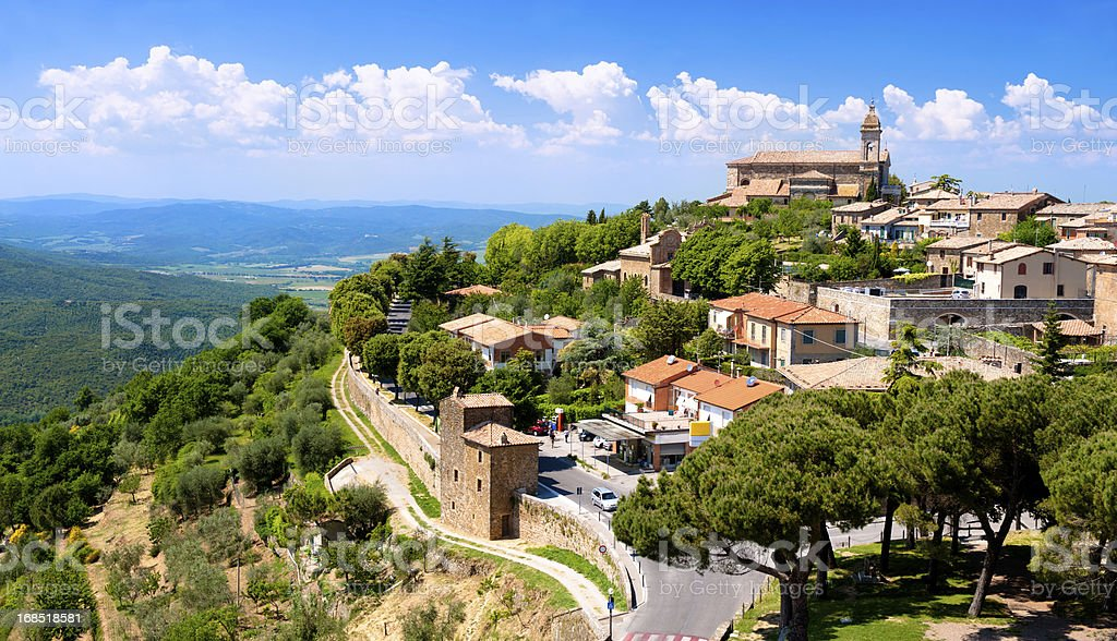 The medieval town of Montalcino stock photo