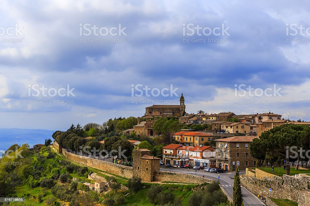 The medieval town of Montalcino. stock photo