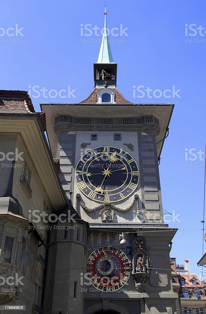 The medieval Zytglogge clock tower in Bern, Switzerland royalty-free stock photo