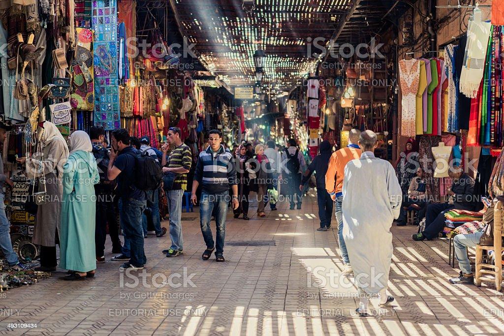 The medina of Marrakech with sun beams stock photo