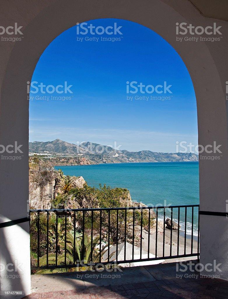 The Mediterranian Sea Through White Arches stock photo