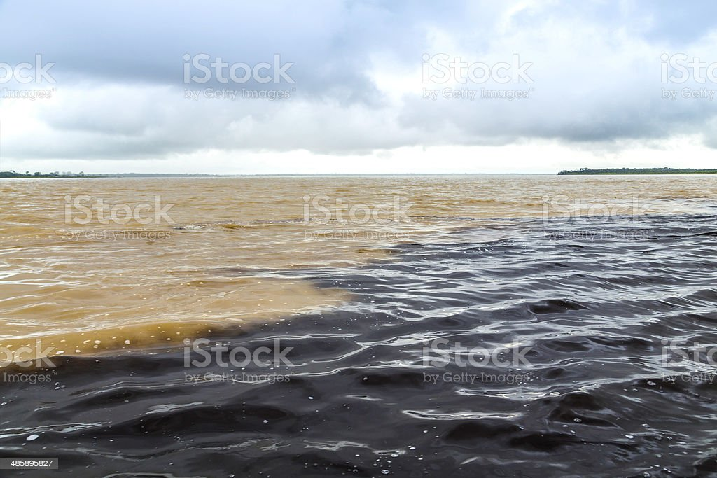 The Meeting of Waters in Manaus, Brazil stock photo