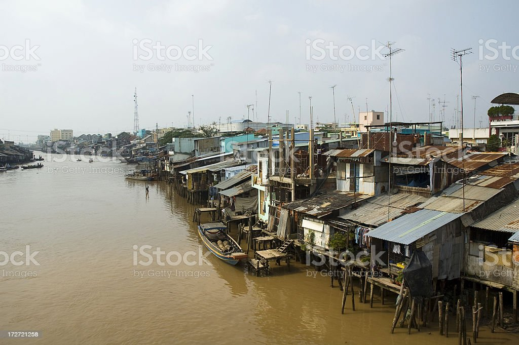 The Mekong River In My Tho, Vietnam stock photo