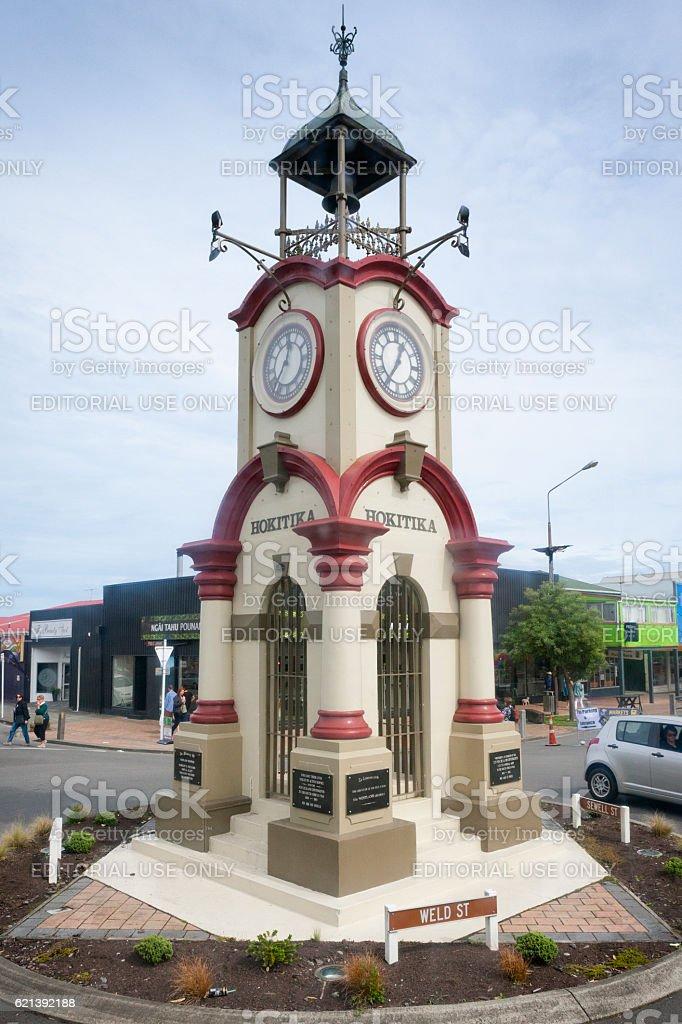 The Memorial Clock Tower in Hokitika, New Zealand stock photo