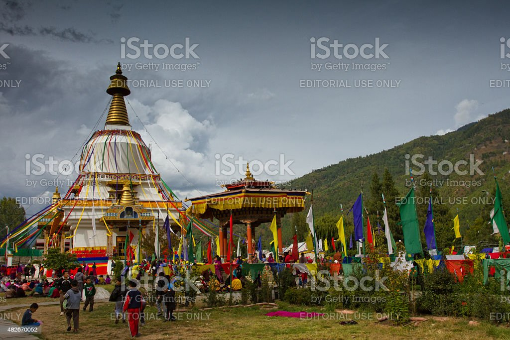 The Memorial Stupa of Thimphu, Bhutan stock photo