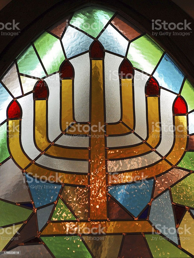 The Menorah in Stained Glass royalty-free stock photo