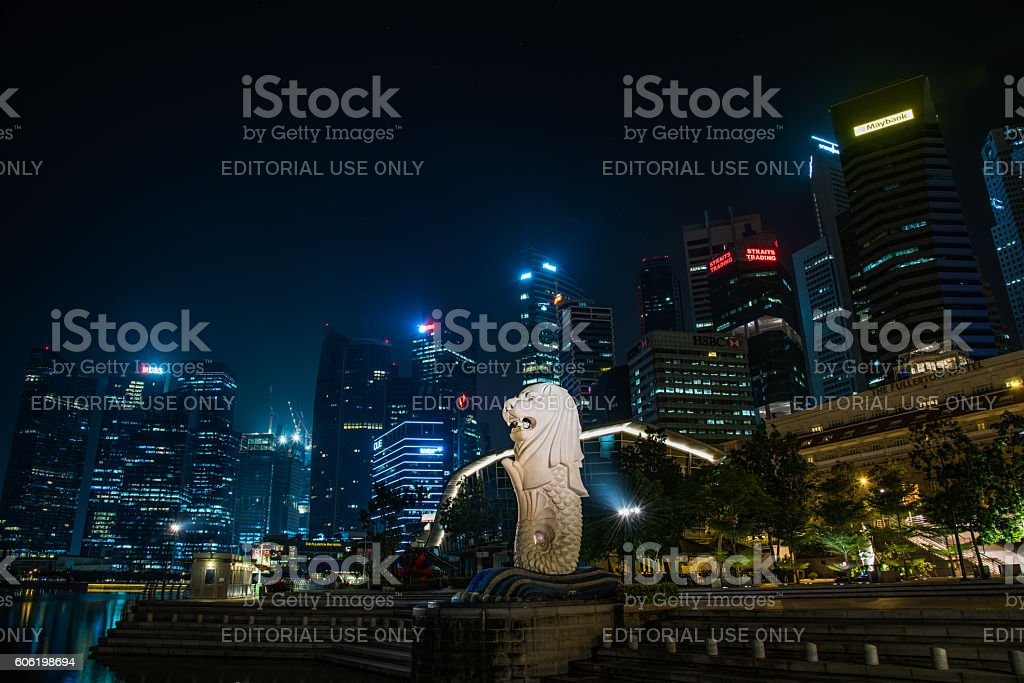 The Merlion and skyscrapers in Singapore stock photo