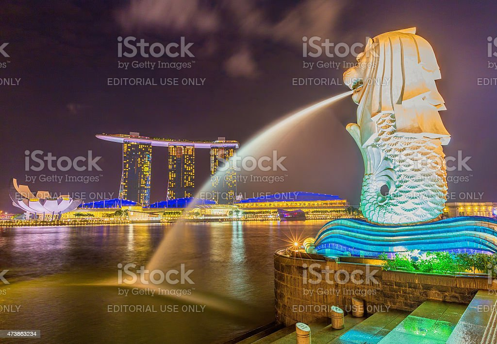 The Merlion and the Marina Bay Sands Resort Hotel stock photo