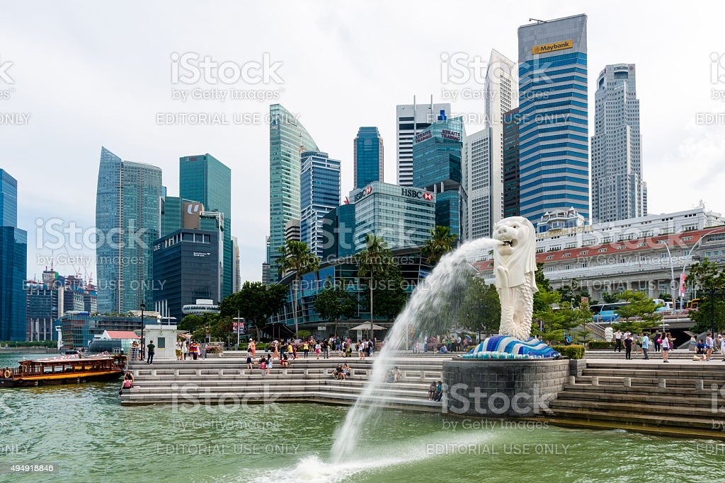 The Merlion fountain statue in Singapore. stock photo