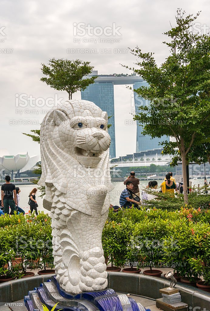 The Merlion statue in front of the Marina Bay Sands stock photo