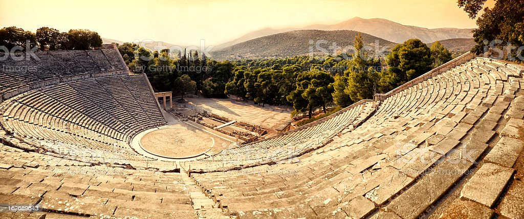 The mesmerizing Epidaurus Theatre stock photo