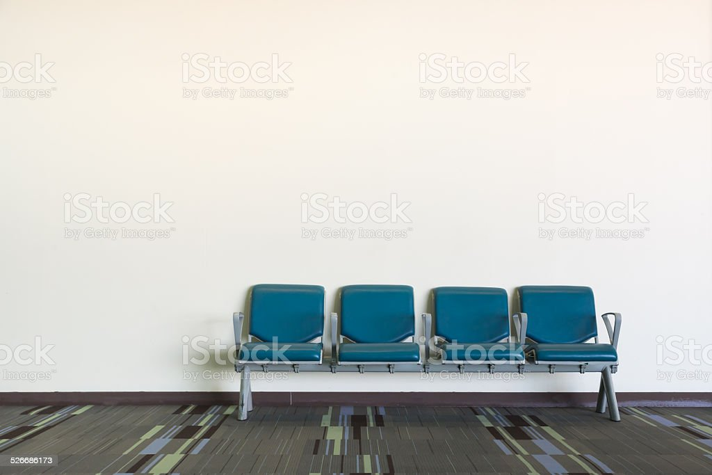 The metal chair cover with blue leather stock photo