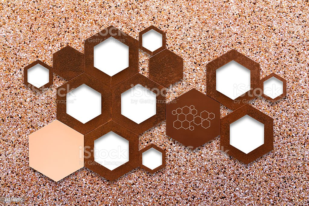 The metal molecule icon sign on stone wall background stock photo