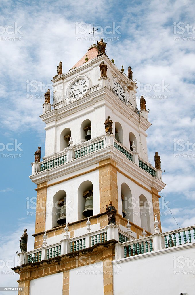 The Metropolitan Cathedral of Sucre in Bolivia stock photo