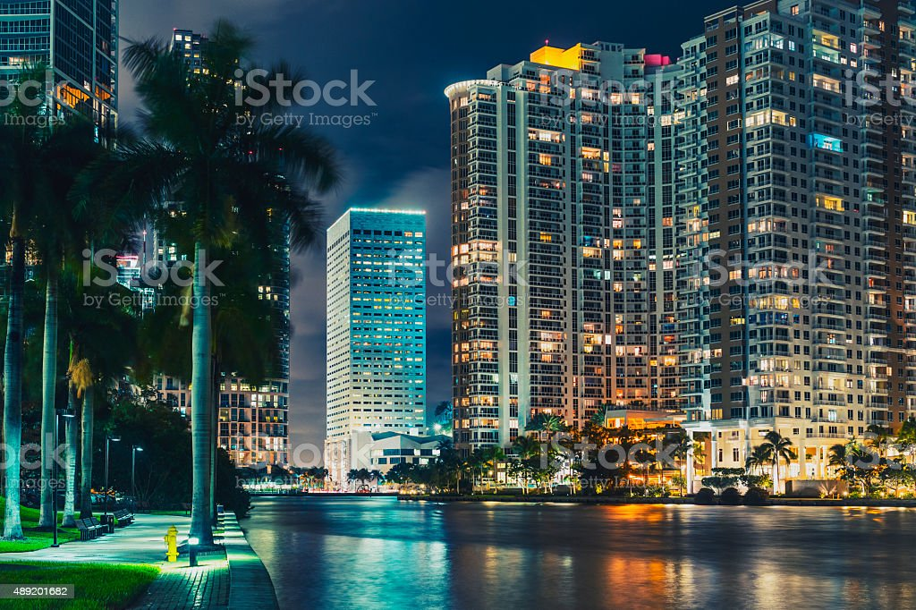 The Miami City Viewed from Miami River at Night stock photo