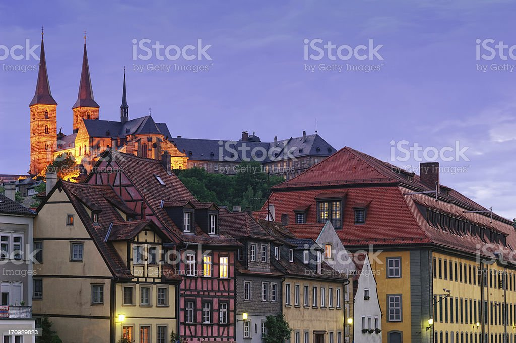 The Michaelsberg Abbey and the historic old town of Bamberg stock photo