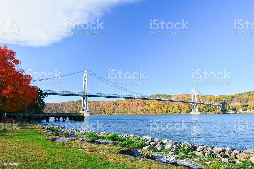 The Mid-Hudson Bridge in fall. stock photo