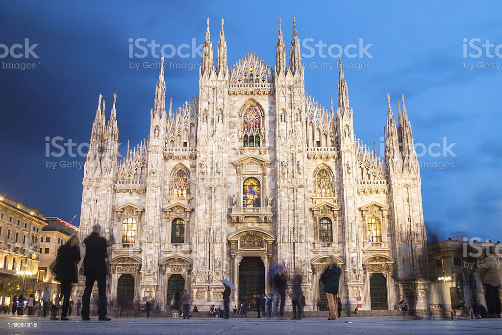 The Milan Cathedral as seen from the Square stock photo