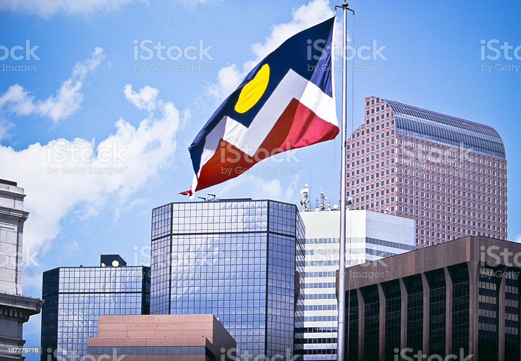 The Mile High City with Flag stock photo