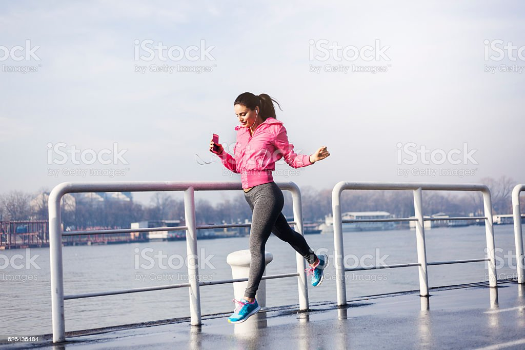 The miles are rolling away behind her. royalty-free stock photo