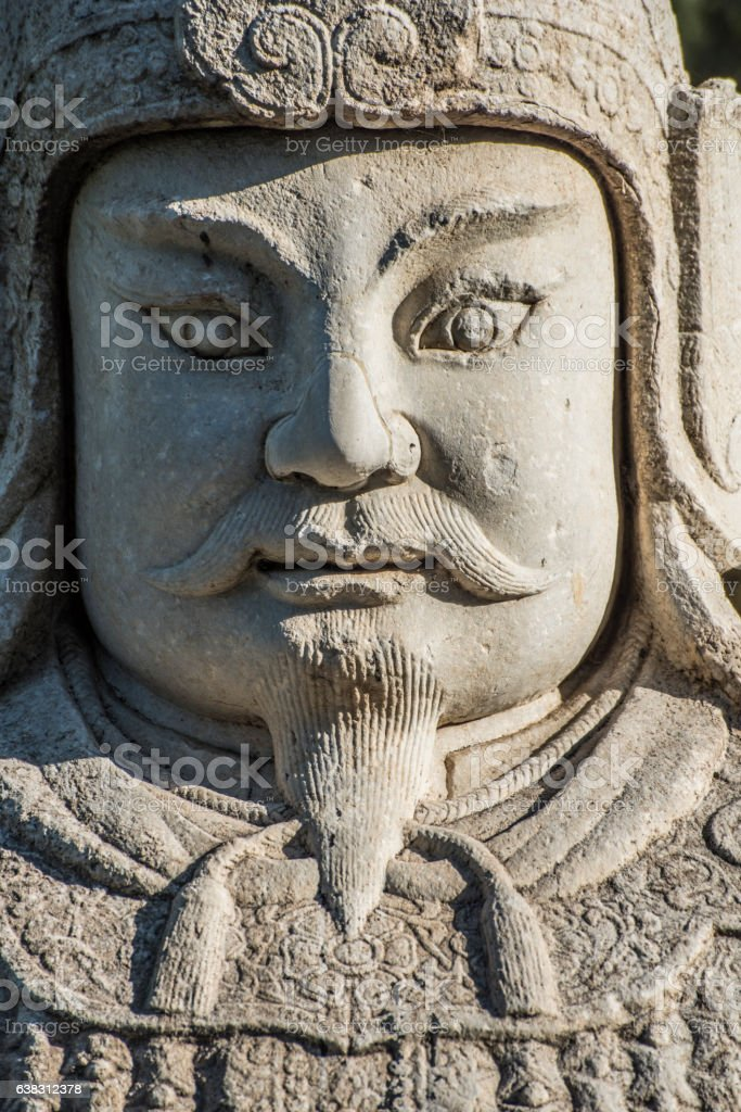 The military officer stone statue in God Way Ming Tombs stock photo