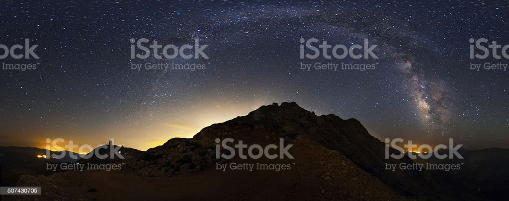 The milky way and the city lights royalty-free stock photo