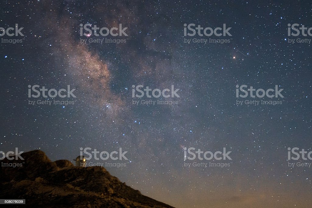 The milky way and the observatory stock photo