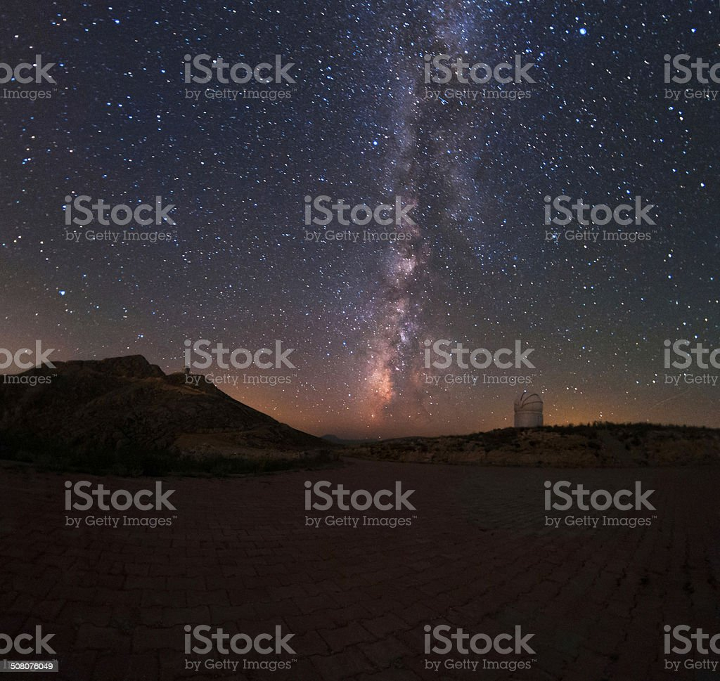 The milky way and the observatory royalty-free stock photo
