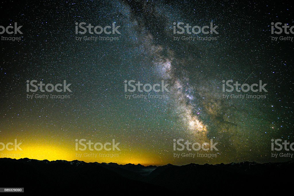 The Milky Way Exploding over Hurricane Ridge stock photo