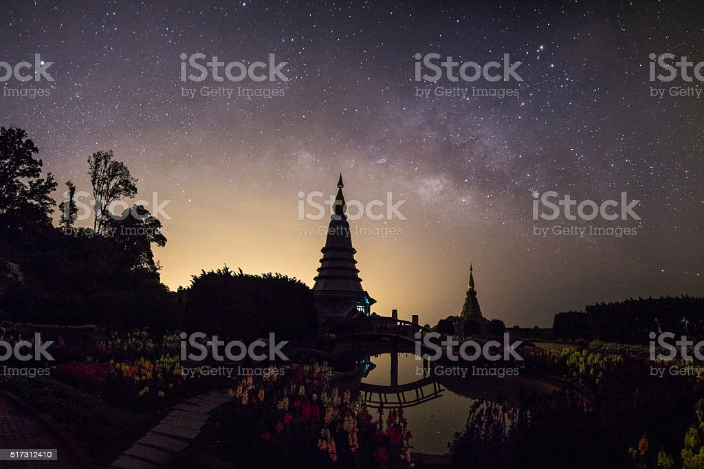 The Milky Way on garden with Buddha Relics stock photo