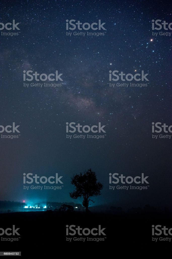 The Milky way on the night with gain and soft focus stock photo