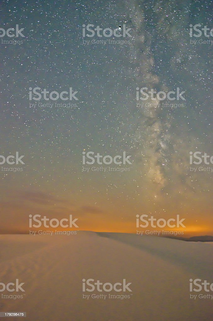 The Milky Way over White Sands, New Mexico stock photo