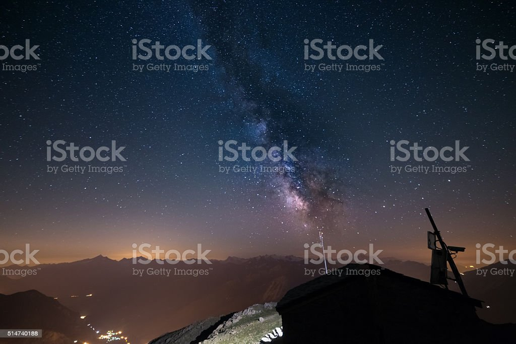 The Milky Way viewed from high up in the Alps stock photo