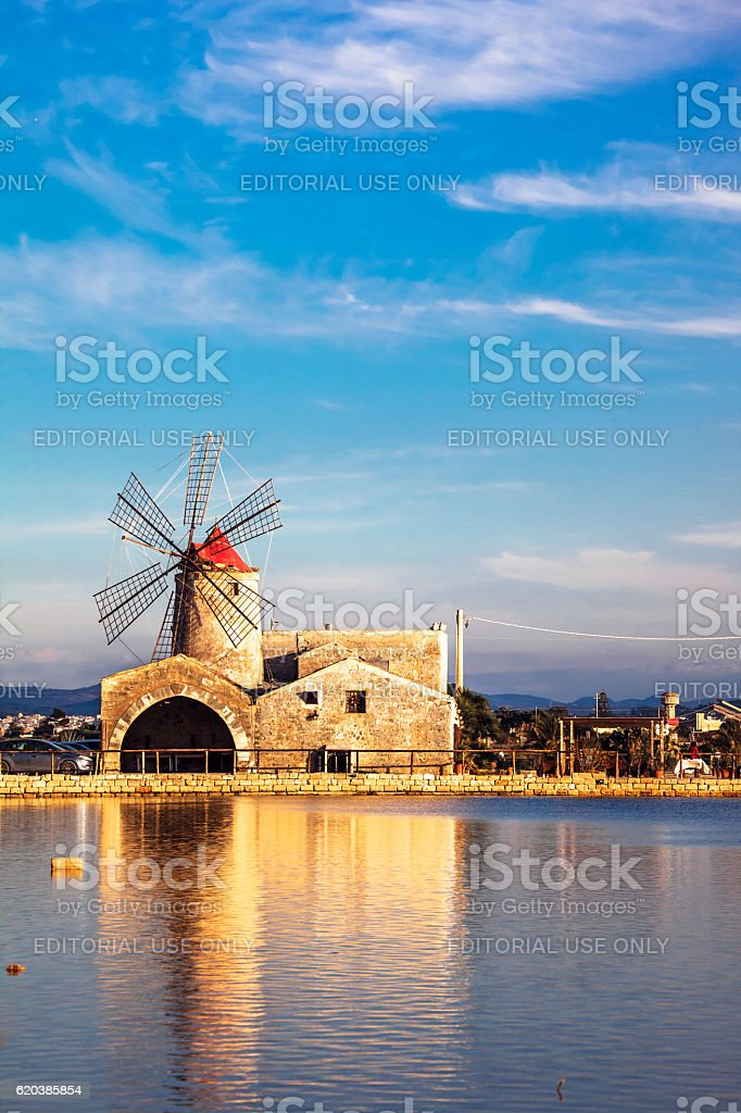 The Mill of Inversa. Trapani, Sicily. stock photo