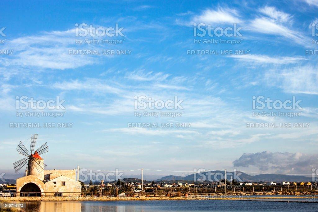 The Mill of Inversa. Trapani, Sicily. stock photo