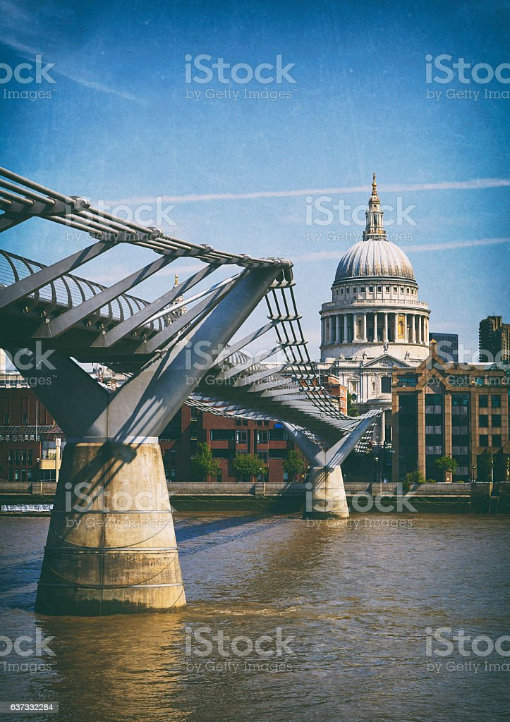 The Millennium Bridge And St Paul's Cathedral stock photo