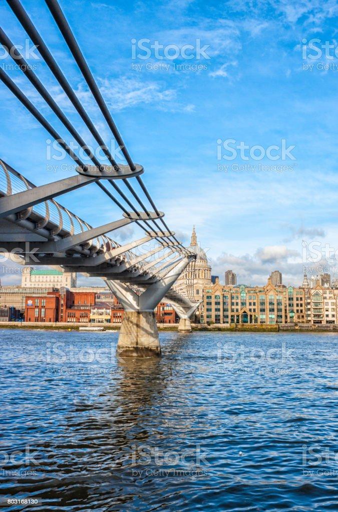 The Millennium Bridge And St Paul's In London stock photo