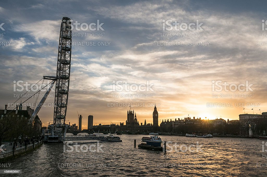 The Millennium Wheel And Big Ben In London, England royalty-free stock photo